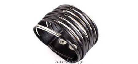 Leather bracelet w/metal decor