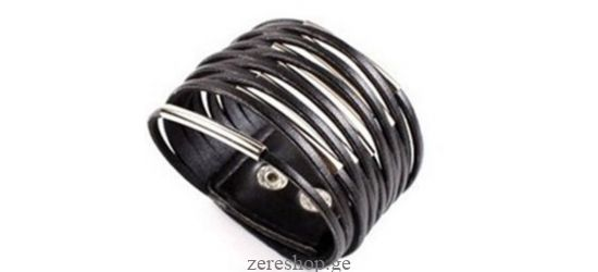 Leather bracelet w/metal decor